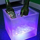 Aliciashouse Couche LED Seau à glace Double RGB Color Square Bar KTV bière Seau à glace