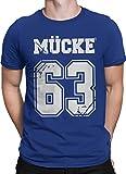 vanVerden Unisex T-Shirt XS-5XL Mücke 63 / Bulldozer, Color:Blau / Weiß, Größe:L
