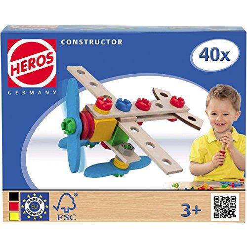 Constructor Flugzeug und Hubschrauber, FSC zertifiziert: Bausatz 40 Teile Holz Bau Set Konstruktions Spielzeug