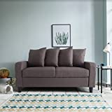 2 Seater Sofa - Grey Fabric - Settee Couch with 4 Free Scatter Cushions (Light Brown)
