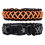 The Friendly Swede Armband-Set - 2 Stück Paracord Survival-Armband Überlebensarmband (Orange Gunmetal)