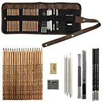 KidsPark Drawing Sketching Pencil Set 29pcs Art Sets with Sketch Pencils Graphite Charcoal Pencil and Accessory Arts and Crafts for Kids and Adults Artists Art Supplies Kit in Roll up Pencil Case