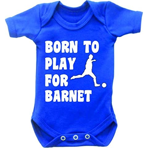 Born to Play Football per Barnet Body a maniche corte Bambino Tutina Gilet crescere in Royal Blu e bianco motivo