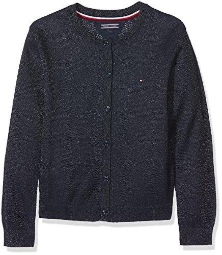 Tommy Hilfiger Mädchen AME Bright Shine Cardigan Sweatjacke, per Pack Schwarz (Black Iris 002), 152 (Herstellergröße: 12)