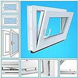 Kellerfenster Kunststoff Fenster BxH 90x105 cm, DIN rechts - 2 Fach Verglasung Dreh Kipp - Beidseitig Weiß