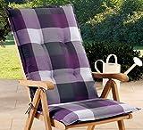 Schwar Textilien Stuhlauflage Hochlehner Gartenstuhlauflage Sitzauflage in 3 verschiedenen Farben 8cm dick karomuster
