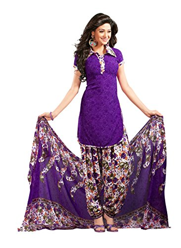 Parihar Collections Women's Crepe Dress Material (Nn1587_Purple_Free Size)