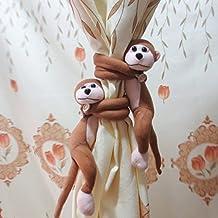 1 par mono Cortinas Tie Backs niños sala de lactancia GetItOn mono Cortina Autoamarre Abrazadera