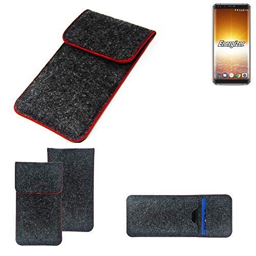 K-S-Trade® Filz Schutz Hülle Für Energizer P600S Schutzhülle Filztasche Pouch Tasche Case Sleeve Handyhülle Filzhülle Dunkelgrau Roter Rand