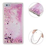 Huawei P8 Lite 2015 Rosa Treibsand Case, Huawei P8 Lite Flüssig Hülle, Huawei P8 Lite Glitzer Hülle, Moon mood Huawei P8 Lite Handyhülle Crystal Clear Flüssig Case Mode Bunten Transparente Back Cover
