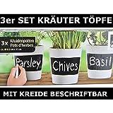 3 x Set Kräutertöpfe mit Kreide beschriftbar Pflanzen Topf Keramik Kräuter Küche Topf Deko