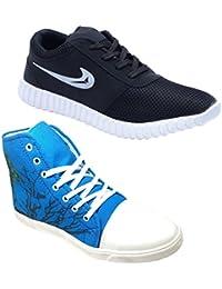 Ind Crown Men's Women's Black Blue Casual Canvas Sports Sneakers Long Shoes - B07CTSRQFT