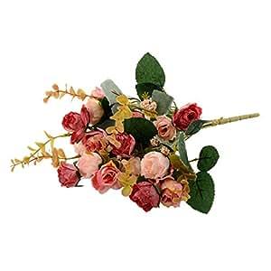 Soledì- 1 Mazzo di 21 Testina di Rosa, Fiore/Fiori/ Piante Artificiali, Fioritura in Seta, Decorazione per Cerimonia Nuziale Matrimonio Party Casa ecc. (Rosa)