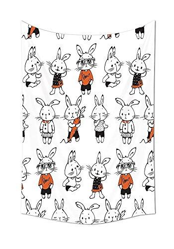 ajnxcid Funny Decor Collection Niedliches Retro Kaninchen mit Kostümen, Jack Hare Funky Bunnies Karotten-Druck, Schlafzimmer, Wohnzimmer, Schlafraum, Wandteppich, Orange/Weiß 51.1W By 59L Inch