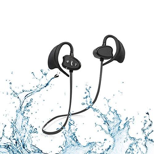 Ipx8 Waterproof CSR Auriculares Bluetooth Cancelación de ruido Auriculares deportivos inalámbricos con gancho para la oreja Auriculares a prueba de viento con micrófono para iPhone, Android ( NEGRO)