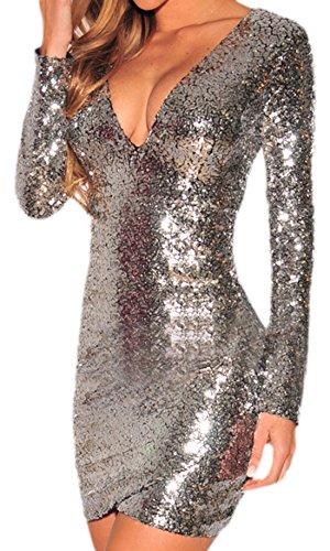 erdbeerloft - Damen Kurzes Partykleid mit Pailletten, Silber, Größe M (Silber Pailletten Kurze Kleid Für Frauen)