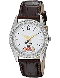 Disney Women's 'Mickey Mouse' Quartz Metal Casual Watch, Color Brown (Model: WDS000379)