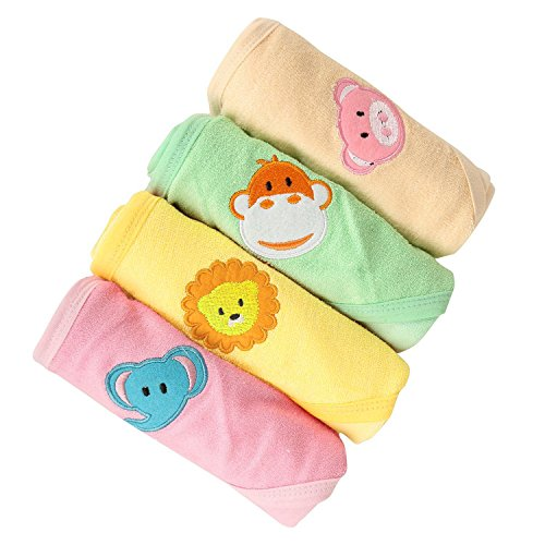 Kurtzy Quick Dry Baby Shower Bath Hooded Cotton Towels 4 Colours (Pink, Green, Sandal And Yellow)