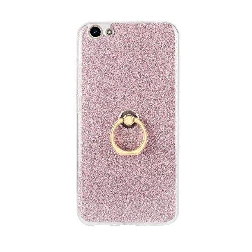 Luxus Bling Sparkle Style Case, Soft TPU [Silikon] Flexible Glitter Rückentasche mit Fingerring Ständer für VIVO Y66 ( Color : Black ) Pink