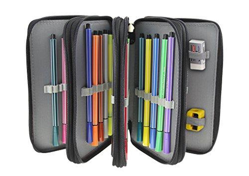 federtasche 4 fach Federmappe Oxford Schüleretui 72 Slots Stiftemappe Super Große Schlamperbox für Buntstifte Bleistifte(Bleistifte sind nicht enthalten)