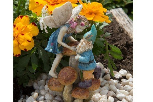 Jardin Féérique Miniature Édition limitée Fille Fée et Nain sur Champignons Codey et Cassey Tereapii en Gros Fairy Jardins