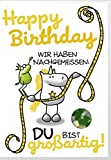 Humor Geburtstag Karte Grußkarte Extra Konfetti Maßband 16x11cm