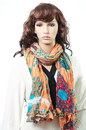 Crushed Effect Pashmina Style Scarf Shawl Wrap Throw. Beautiful Unique Designs to Kuldip LTD. 915163 Peach