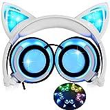 Katze Ohr Kopfhörer mit LED Glowing/Blinken,Faltbarer Wiederaufladbare Wired Headset für Mädchen,Kinder, kompatibel für