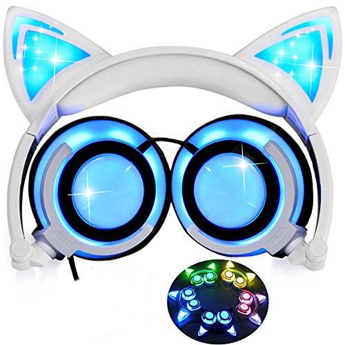 Katze Ohr Kopfhörer mit LED Glowing/Blinken,Faltbarer Wiederaufladbare Wired Headset für Mädchen,Kinder, kompatibel für Notebook PC, Smartphone,MP3 (Weiß)