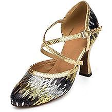 Zapatos de piel con lentejuelas y correas en cruz Minitoo Ladies TH135, para bodas y bailes