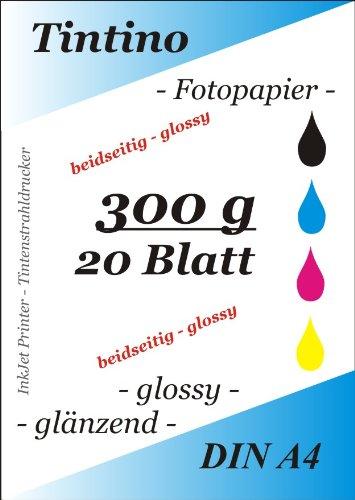 20Blatt Fotopapier beidseitig A4300g/m² -double-face glänzend, schnelltrocknend, resistent Wasser weiß glänzend sehr hohe Glanz für Tintenstrahldrucker - Hohen Glanz Glanz Glanz