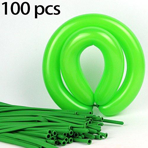 Hemore 100 Streifen 1 Packung - Lange Streifen Ballons (Farbe: grün) Dekorativer Ballon für Hochzeitsfest-Dekorationen/Jahrestag/Party/Party