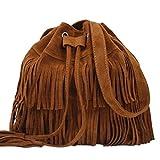 Damen Schultertasche, Kunstwildleder, Fransen, Quasten, Schwarz/Braun / Khaki Cross-Body-Bags Free Size braun