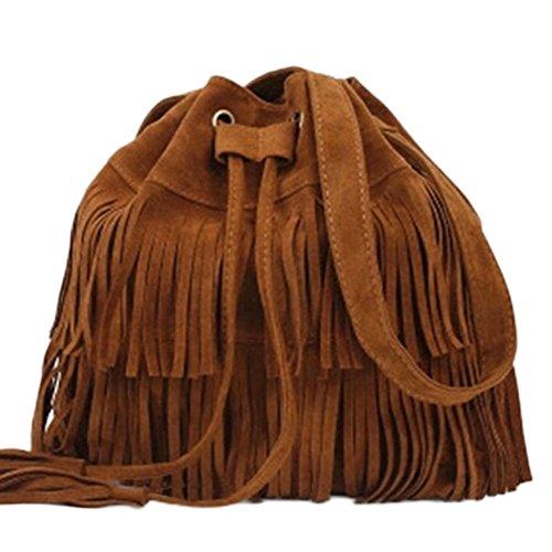 Bolso de hombro, para mujer, de ante sintético, flecos, borlas, bandolera, bolso de hombro, bolsa de cubo para el hombro, negro, marrón, caqui, color marrón free size