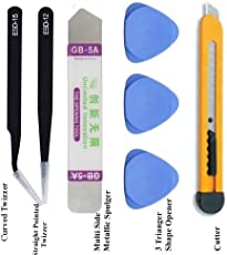 SCHOFIC Metal Spudgers, Tweezers Set, Plastic Openers and Cutter for Mobiles and Gadget Repairing