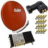 8 Teilnehmer Satelliten Anlage Antenne Fuba 85x85 cm Alu Rot DAA 850 R mit Multischalter 5/8 Multiswitch SAT Matrix 5-8 mit Netzteil für 8 Teilnehmer + Quattro LNB inkl. 16x F-Stecker Digital FULLHD 3D UltraHD