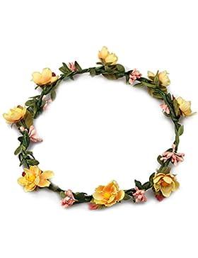 Butterme Corona de flores para mujer o niña, accesorio para el cabello ideal para boda, fiesta o festival, amarillo