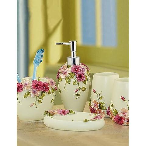 WYZQ set di accessori da bagno, moderno polyresin stile giardino impostato 5 chritmas pezzo regalo (Polyresin Ganci)