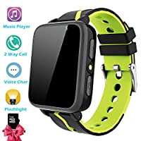 Kids Smartwatch with Music Player - Boys Girls Smart Watch Phone MP3 Player [1GB Micro SD Included] Pedometer Fitness Tracker Camera Flashlight Alarm Clock FM Child Holiday Birthday Gifts (Black)