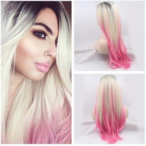 Rose/Blond ombré Perruques avec racines droit naturel de haute qualité perruque châtain foncé perruque Lace Front synthétique résistant à la chaleur fibre cheveux