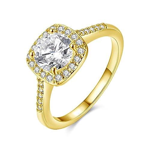 Amour Eternel Bague Femme 18K Or Plaqué Zircon Cubique Diamant Bague de Fiançailles Bague d'anniversaire Alliance de Mariage, KC Gold , 5
