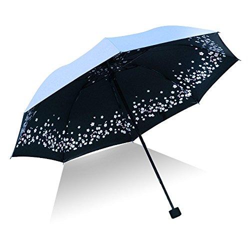 Preisvergleich Produktbild Ai-life Faltbar Regenschirm Taschenschirm mit 8 Edelstahl-Rippen,  Floramuster windichter Golfschirm,  Teflon Beschichtung,  Transportabel Reiseschirm,  kompakt und leicht,  Schirm für Damen und Herren mit UV Schutz
