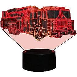 Illusion 3D Pompiers Camion LED Lampe Art Déco Lampe Lumières LED Décoration Lampes Touch Control 7 Couleurs Change Veilleuse USB Powered Enfants Cadeau Anniversaire Noël Cadeaux