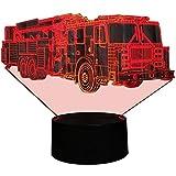 HPBN8 3D Feuerwehr Auto Illusions LED Lampen Tolle 7 Farbwechsel Acryl berühren Tabelle Schreibtisch-Nacht licht mit USB-Kabel für Kinder Schlafzimmer Geburtstagsgeschenke Geschenk