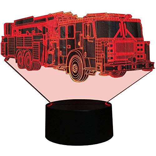 HPBN8 3D Feuerwehr Auto Illusions LED Lampen Tolle 7 Farbwechsel Acryl berühren Tabelle Schreibtisch-Nacht licht mit USB-Kabel für Kinder Schlafzimmer Geburtstagsgeschenke Geschenk.