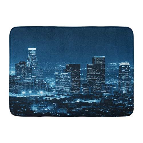 LIS HOME Bad-Matte Kalifornien-Schwarz-Stadt-Los Angeles-im Stadtzentrum gelegene Gebäude nachts weiße Skyline-amerikanische Badezimmer-Dekor-Wolldecke