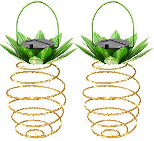Ananas-Licht, 2 Stück Solar Ananas-Lampe, wasserfest, Eisen Garten Nachtlicht - einziehbare hängende Lichterkette - für Baumweg, Veranda, Haus, Balkon (Ananas Tool)