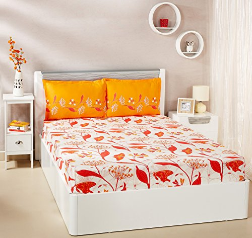 Solimo Lily Bloom 144 TC 100% Cotton Double Bedsheet with 2 Pillow...