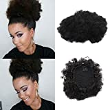 Coulisse Puff sintetici ricci onda clip in Ponytail breve afro Kinky Curly Wrap Ponytail Hair extensions WIG for African American(#1)