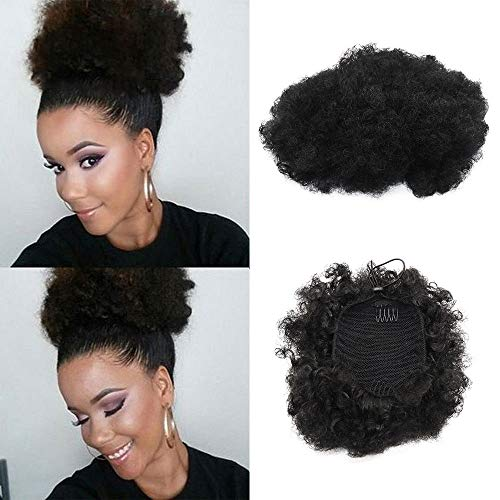 Scopri offerta per Coulisse Puff sintetici ricci onda clip in Ponytail breve afro Kinky Curly Wrap Ponytail Hair extensions WIG for African American(#1)